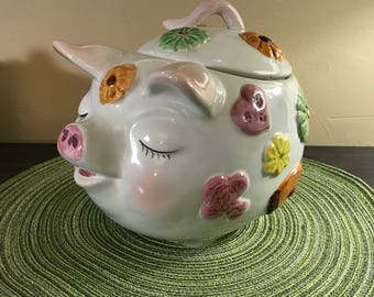 PIG COOKIE JAR 1950s Italy Hand painted pink pastels  Sleepy Pig with cookie decorations Mid Century Modern Collectible Kitchen Kitsch