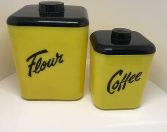 LUSTRO WARE yellow canisters Flour and Coffee partial set of two Black lids late 50s early 60s Mid century modern  kitchen plastics