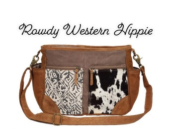 73dbe9d70 Two toned cowhide messanger crossbody purse