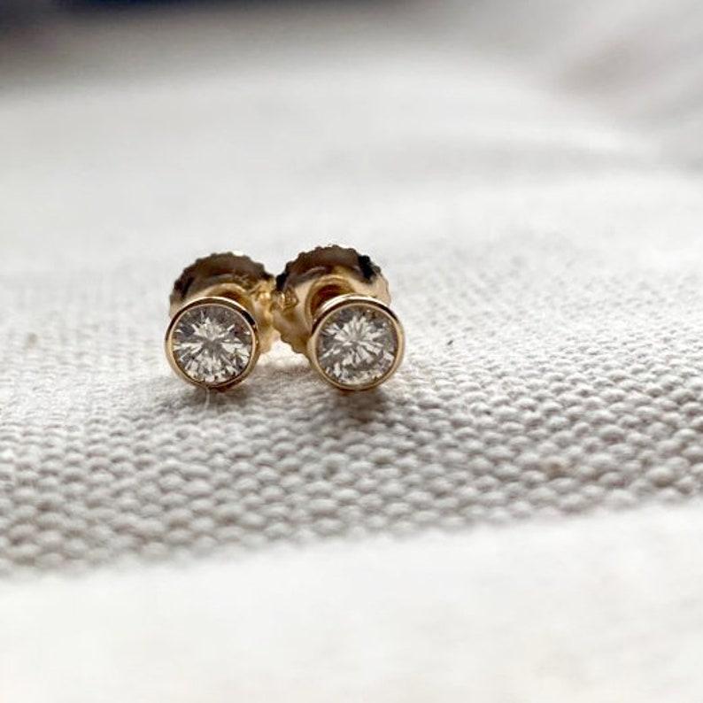 less lose earrings Screw Back 14k solid gold diamond post earrings 0.17ct Diamond earrings 100/% Natural Diamond Stud Earrings 3.5mm
