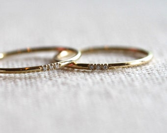 Stacking gold wedding band, Stacking 14k gold engagement ring with Diamonds, 14k rose gold