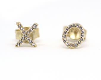 xo xo earring gold, xoxo earrings, 925 sterling silver earrings, xo jewelry, xoxo jewelry, tiny xo stud earrings