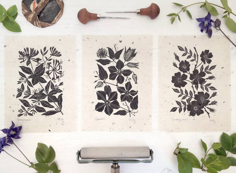Climbing Flower Linoprints. Choice of Clematis Wild Rose & image 0