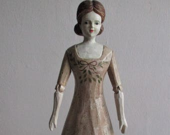 Vintage wooden doll, movable arms, hand painted, home decor