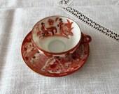 Vintage Japan, Satsuma Moriage , Set of tea cup , Cup Saucer ,