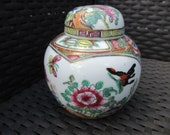 Vintage Tea caddy, Vase with lid Hand painted, stamped, Satsuma