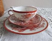Vintage Japan, Satsuma Moriage , Set of tea cup , Cup Saucer ,Plate