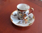 Vintage Japan, Satsuma Moriage , Set of tea cup , Cup Saucer ,