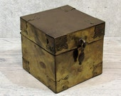 VTG Brass TEA CADDY Trinket Box, Square Cube With Pendant Handle, Probably Made in India