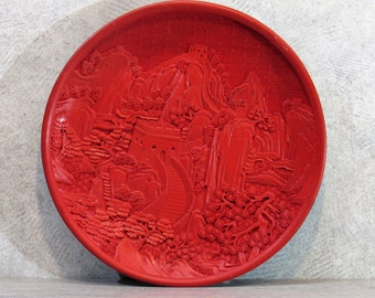 VTG Chinese Lacquer & CINNABAR PLATE Handcarved Great Wall Mountains