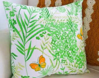 Vintage Sheet Pillow Boho Butterfly Decorative Sham Handmade Throw Cover Yellow Green Floral Bohemian Spring 16x16