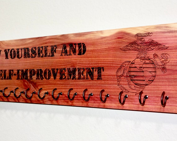 Race Medal Holder for the United States military, custom designs, woodburned on cedar