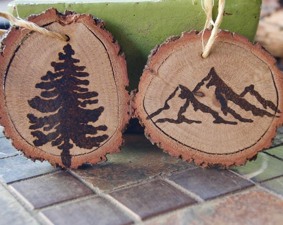 Woodburned ornaments, pine tree and mountain  / set of 2 **FREE US SHIPPING**