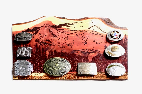 Ultrarunning Buckle Display Plaque, Mountains woodburned on cedar, handmade **FREE US SHIPPING**