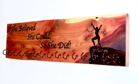 "Race Medal Holder, ""She Believed She Could, So She Did!"", woodburned on cedar with 15 metal hooks, 6""H x 22""L **FREE US SHIPPING**"