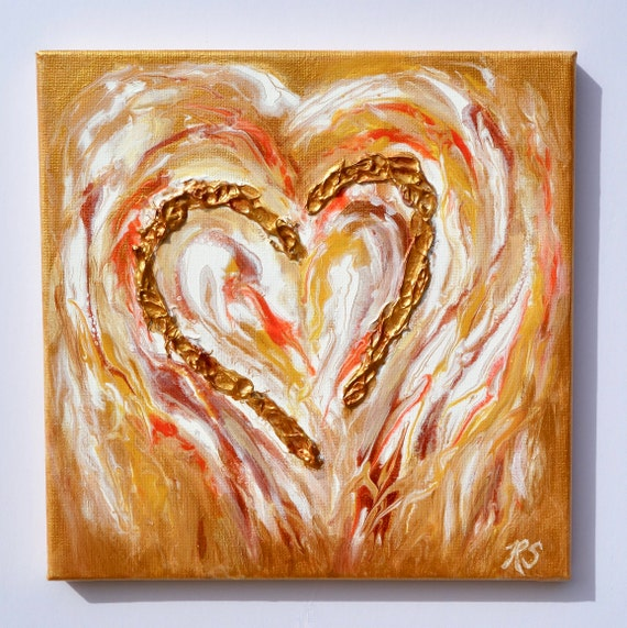 "Gold Angel, heart painting, fluid art with textured gold heart on 10"" x 10"" canvas"