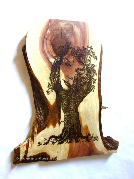 "Solace, pyrography on red cedar, 22"" x 18"" **FREE US SHIPPING**"