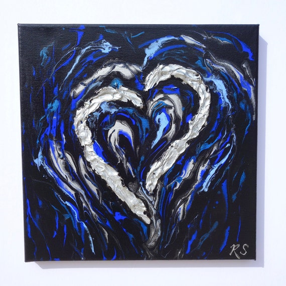 "I've Got the Blues, heart painting, fluid art with textured silver heart on 10"" x 10"" canvas"