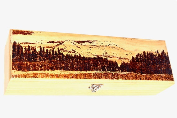 Wine Box with Mountain Landscape, woodburned, handmade