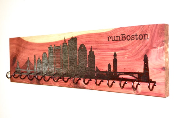 runBoston, Race Medal Holder, woodburned on cedar
