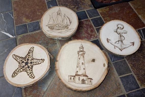 Woodburned Coastal coasters / set of 4