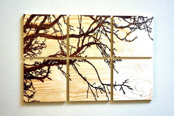 "Large Tree Branches, woodburned in pine, 6-piece wall art, 24""H X 36""L **FREE US SHIPPING**"