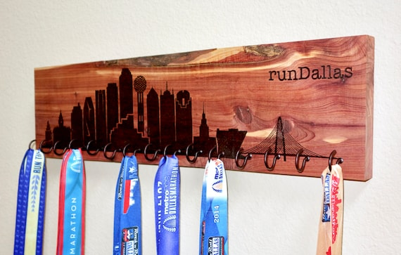 runDallas - Dallas Skyline Race Medal Holder, woodburned on cedar
