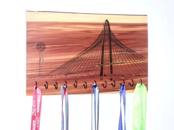 Trinity River | Dallas Skyline - Race Medal Holder, woodburned on cedar
