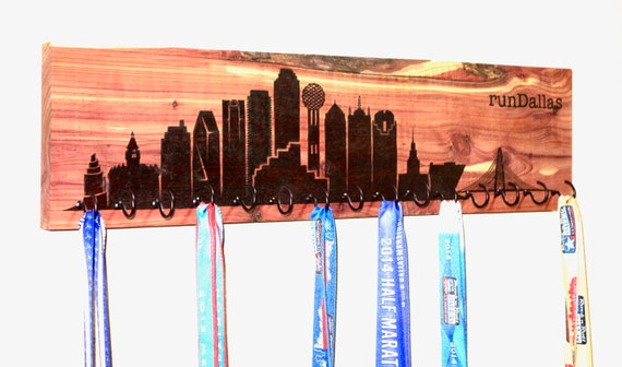 runDallas - Dallas Skyline Race Medal Holder, woodburned on cedar, handmade **FREE US SHIPPING**