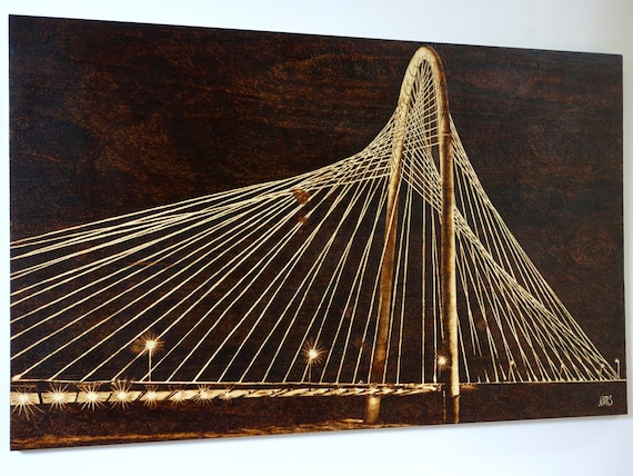 "Margaret Hunt Hill Bridge at Night, large pyrography on pine, 23"" X 37.5"", **FREE US SHIPPING**"