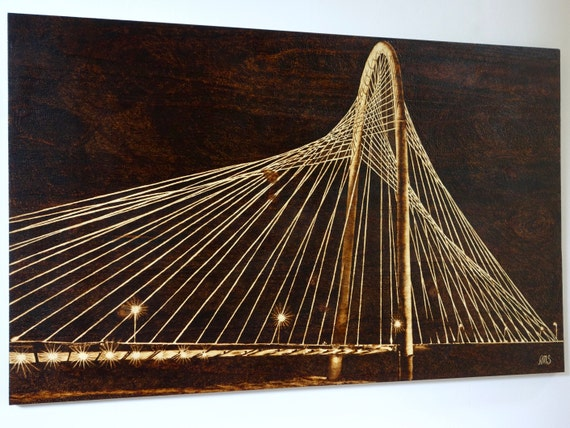 Margaret Hunt Hill Bridge at Night, large pyrography on pine