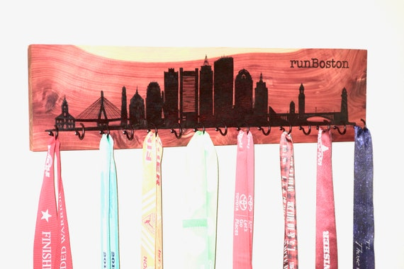 "runBoston, Race Medal Holder, woodburned on cedar with 15 metal hooks, 6""H x 22""L, handmade **FREE US SHIPPING**"