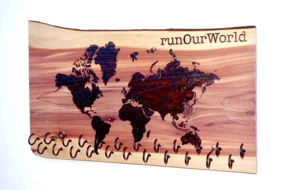 runOurWorld - World Map Race Medal Holder, woodburned on cedar with 23 metal hooks, handmade **FREE US SHIPPING**