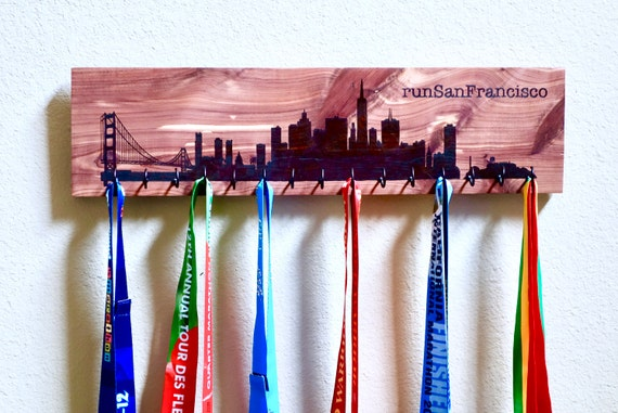 "runSanFrancisco - San Francisco Skyline Race Medal Holder, woodburned on cedar with 15 metal hooks, 6""H x 22""L **FREE US SHIPPING**"