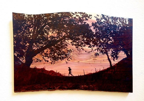 "Trail Runner, large pyrography on cedar, 16.5""H X 24""L **FREE US SHIPPING**"