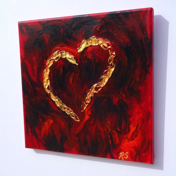 "A Mother's Love, heart painting, fluid art with textured gold heart on 10"" x 10"" canvas **FREE US SHIPPING**"