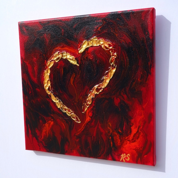 "A Mother's Love, heart painting, fluid art with textured gold heart on 10"" x 10"" canvas"