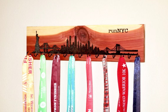 runNYC - New York City Skyline Race Medal Holder, woodburned on cedar