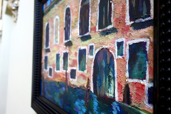"Venezia, Venice canals in Italy. Acrylic textured painting on canvas, 21""H X 25.5""L **FREE US SHIPPING**"