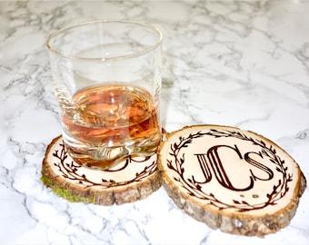 Monogrammed wood coasters, woodburned / set of 2