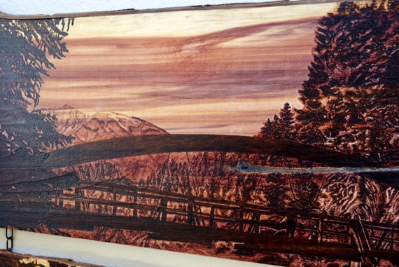Rainbow Bridge reflections, large pyrography on cedar