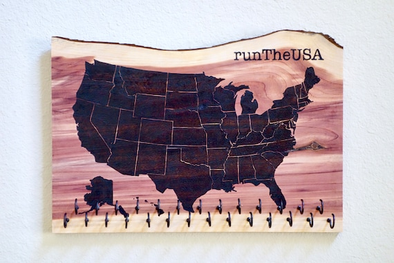 runTheUSA - US Map Race Medal Holder, woodburned on cedar, handmade, incl. 27 hooks **Free US Shipping**
