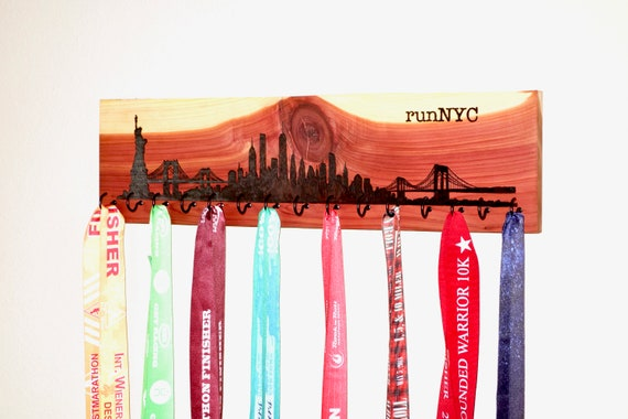 "runNYC - New York City Skyline Race Medal Holder, woodburned on cedar with 15 metal hooks, 6""H x 22""L, handmade **FREE US SHIPPING**"