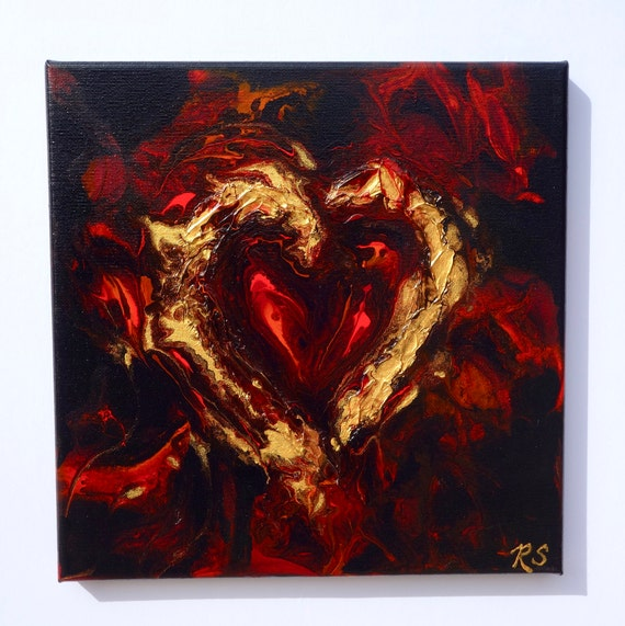 "Heartbreak, heart painting, fluid art with textured gold heart on 10"" x 10"" canvas"