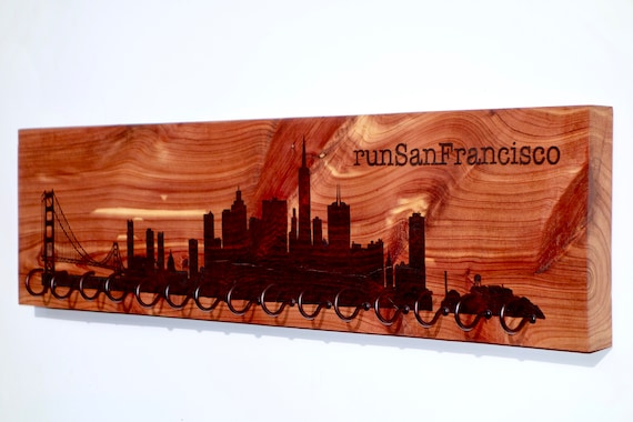 runSanFrancisco - San Francisco Skyline Race Medal Holder, woodburned on cedar
