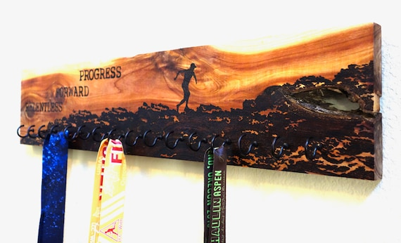 "Race Medal Holder ""Relentless Forward Progress"",  woodburned on cedar **FREE US SHIPPING**"