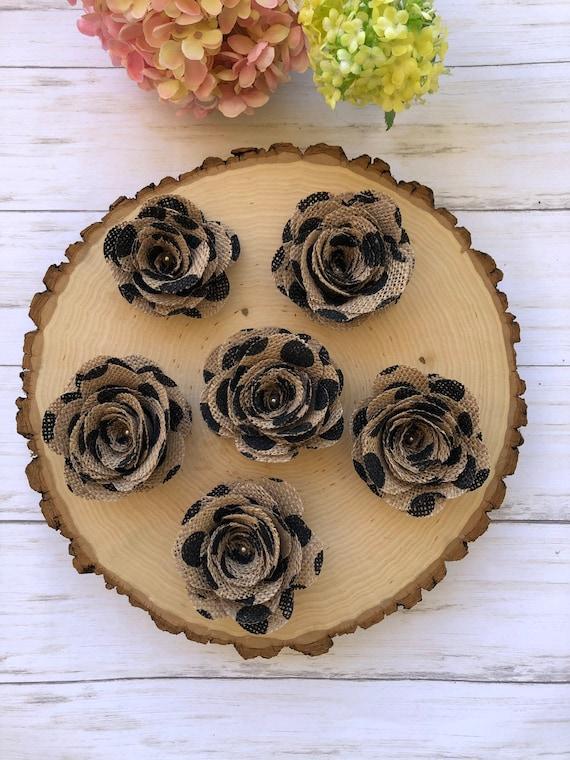3 Burlap Flowersburlap Rosescake Decorations Wedding Etsy