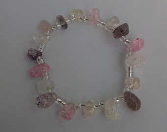 Natural Gemstone and Glass Beads Stretch Bracelet