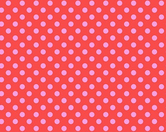 Tula Pink All Stars, Pom Poms in Poppy, Free Spirit Fabric, Red and Pink Fabric, Light Pink, Polka Dot, Small Print Fabric