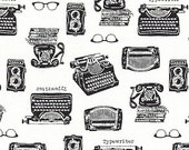 In the Press, Typewriters in White, by Sevenberry, Japanese Fabric, Black and White Fabric, Sold by the Half Yard